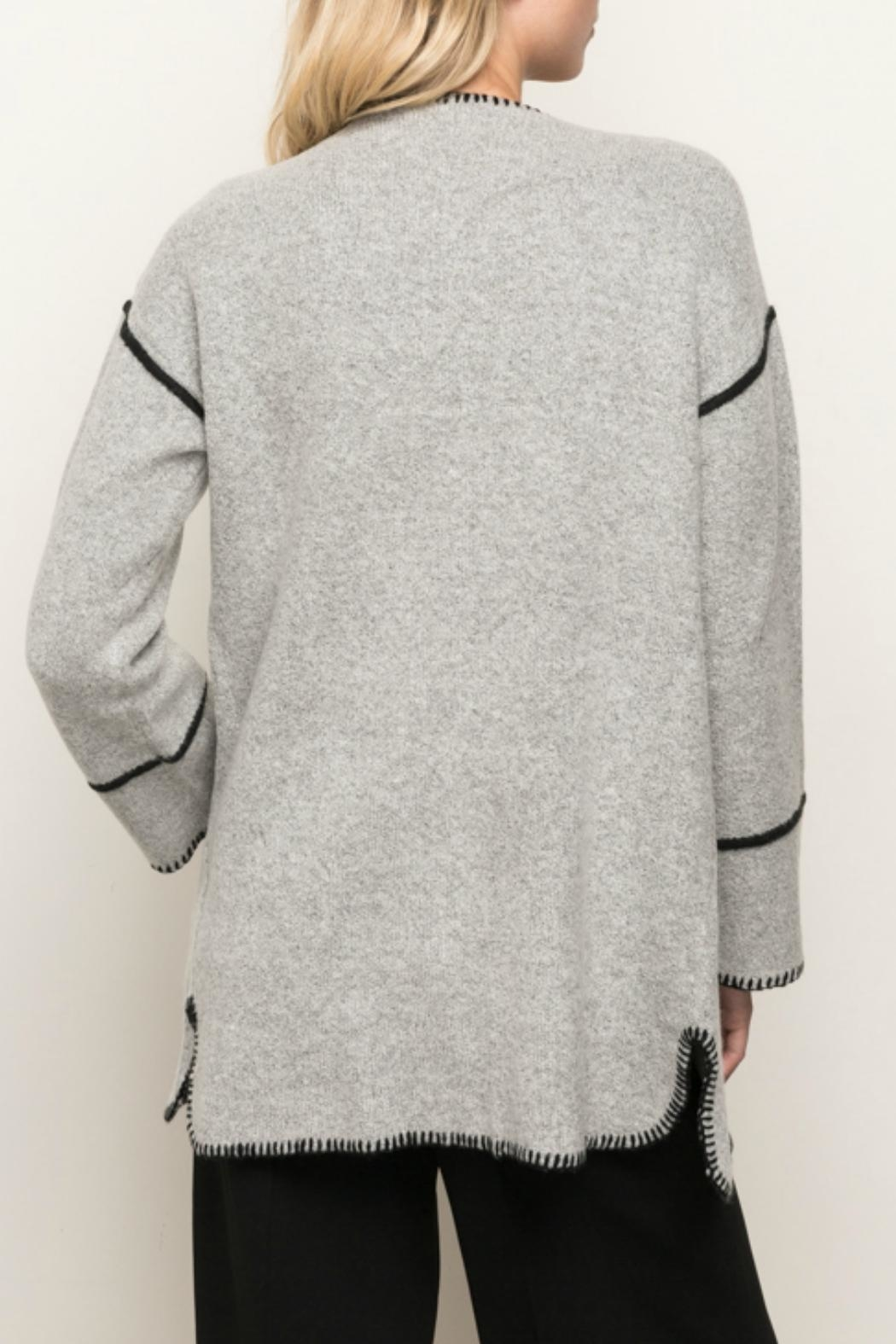 Mystree Seam Contrasting Cardigan - Side Cropped Image