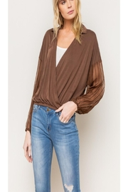 Mystree Sheer Sleeve Blouse - Front cropped