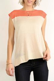 Mystree Sleavless Orange Taupe Top - Product Mini Image