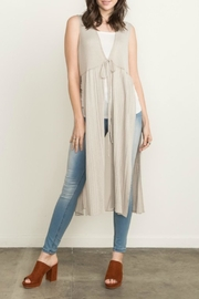 Mystree Sleeveless Taupe Cardigan - Product Mini Image