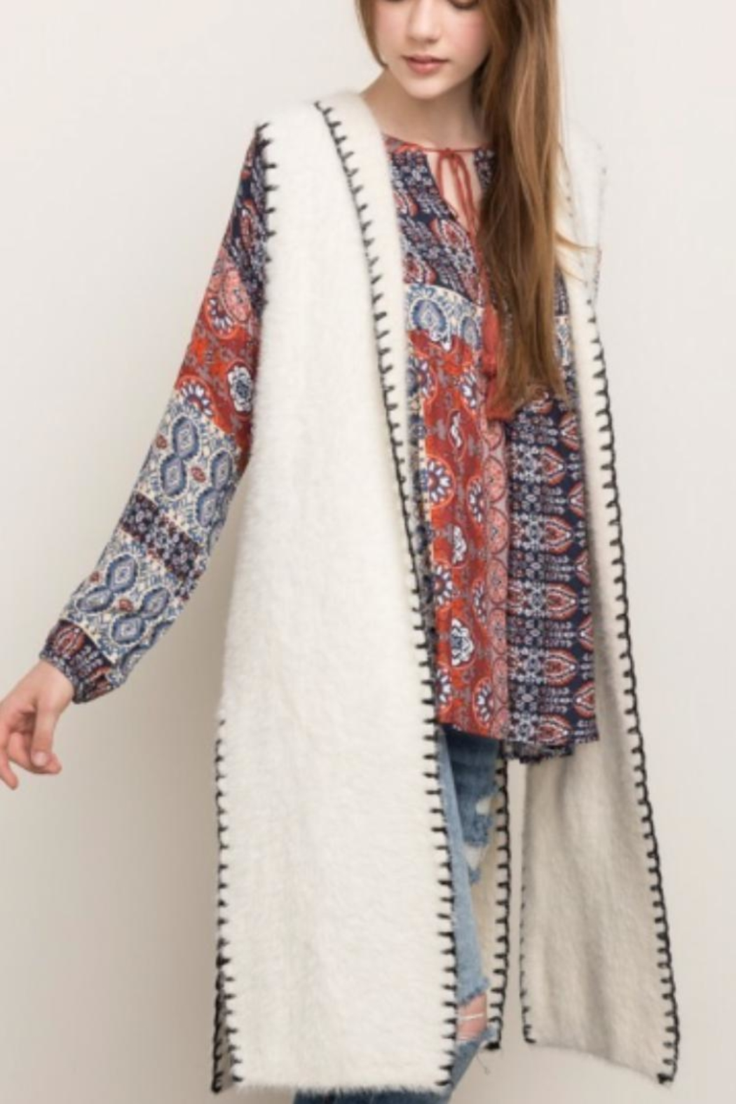 Mystree Stitched Hooded Vest - Front Full Image