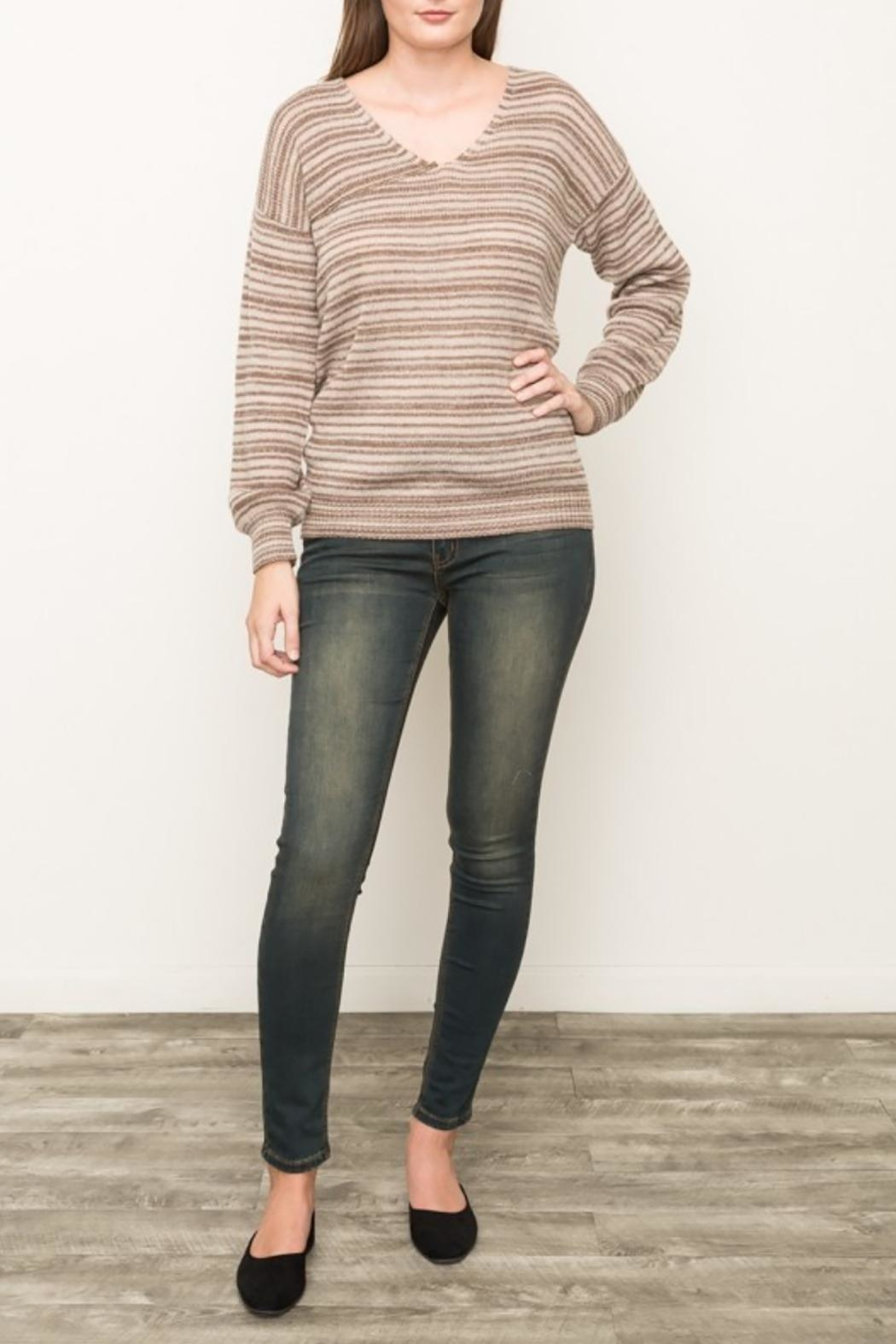 Mystree Striped V Neck Sweater - Side Cropped Image
