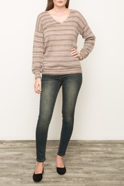 Mystree Striped V Neck Sweater - Side cropped