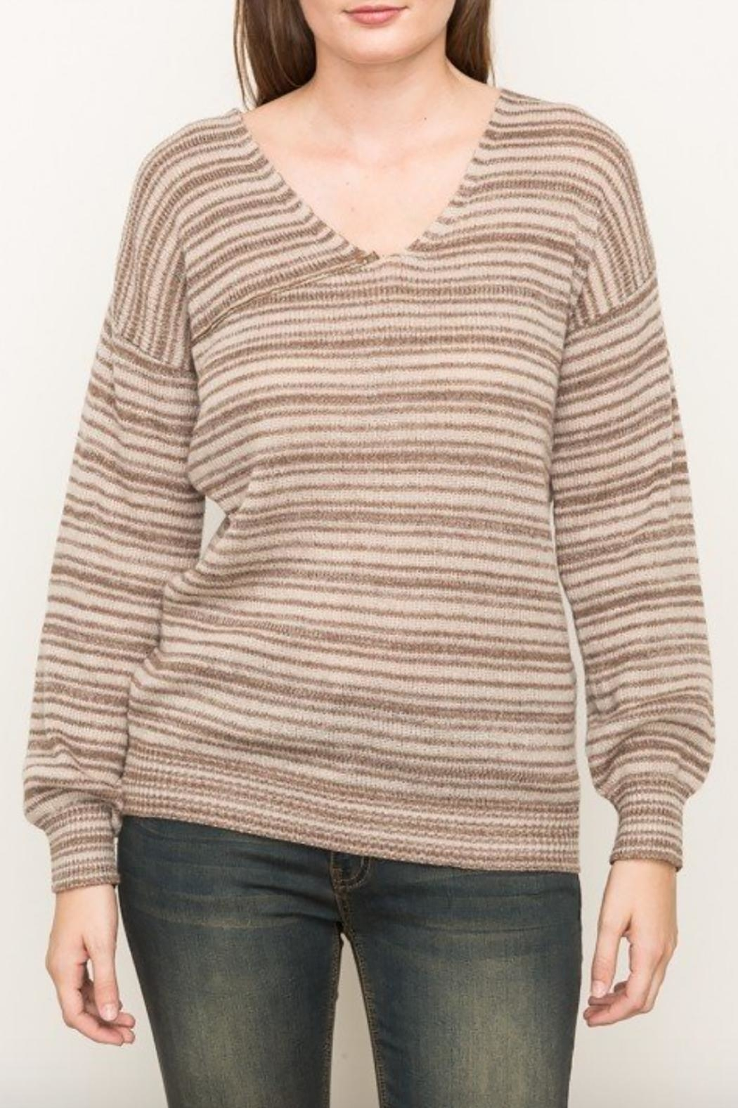 Mystree Striped V Neck Sweater - Main Image