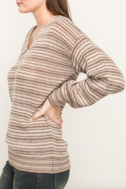 Mystree Striped V Neck Sweater - Front full body