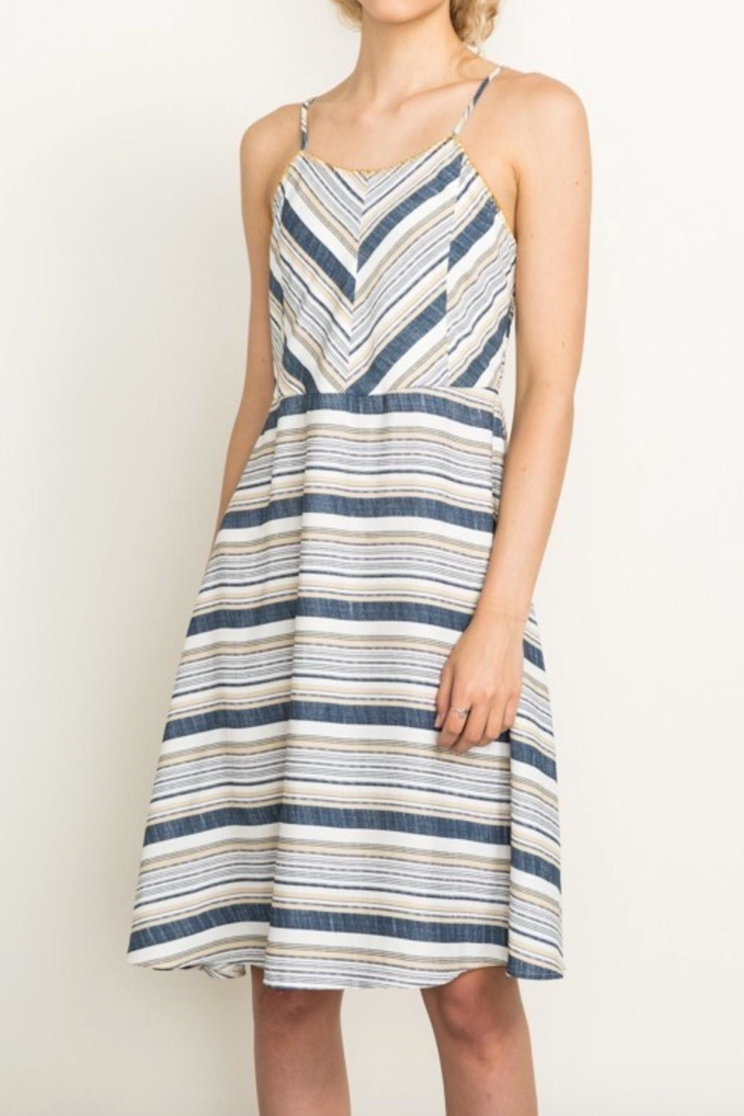 Mystree Summer Stripe Dress - Front Full Image