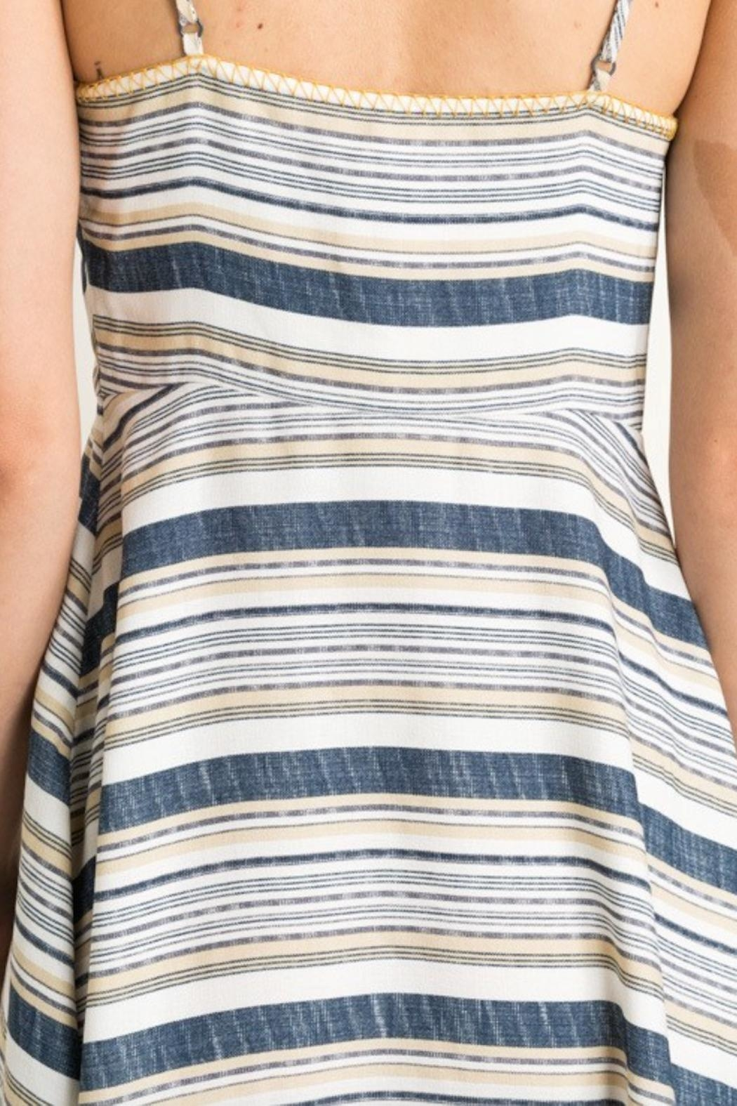 Mystree Summer Stripe Dress - Back Cropped Image