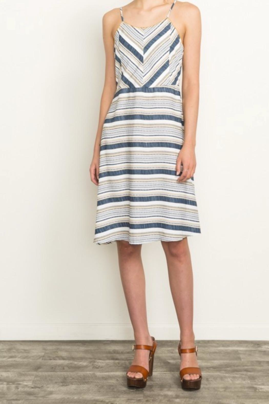 Mystree Summer Stripe Dress - Front Cropped Image
