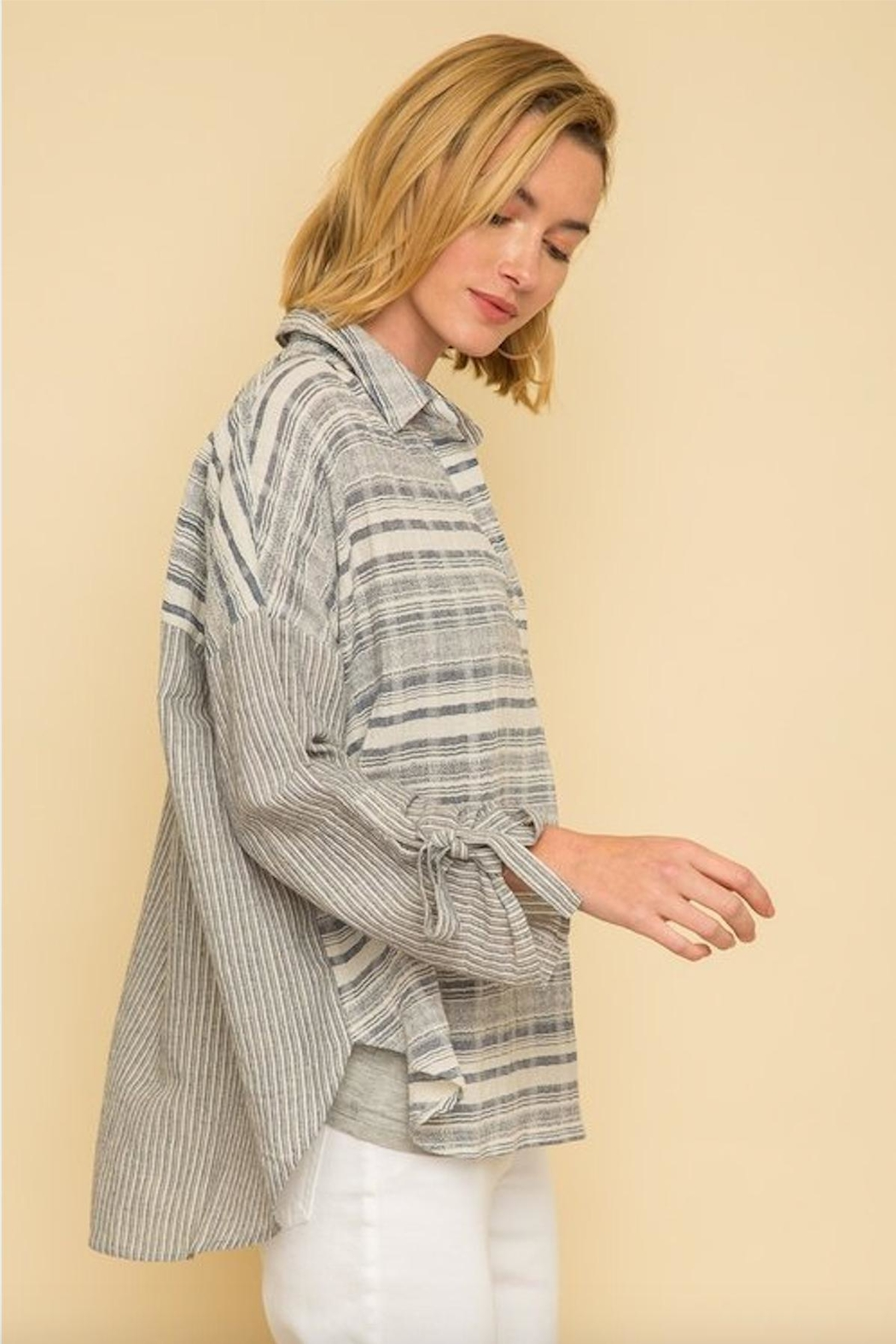Mystree Textured Stripe Blouse - Back Cropped Image