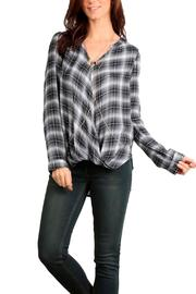 Mystree Twisted Plaid Top - Front cropped