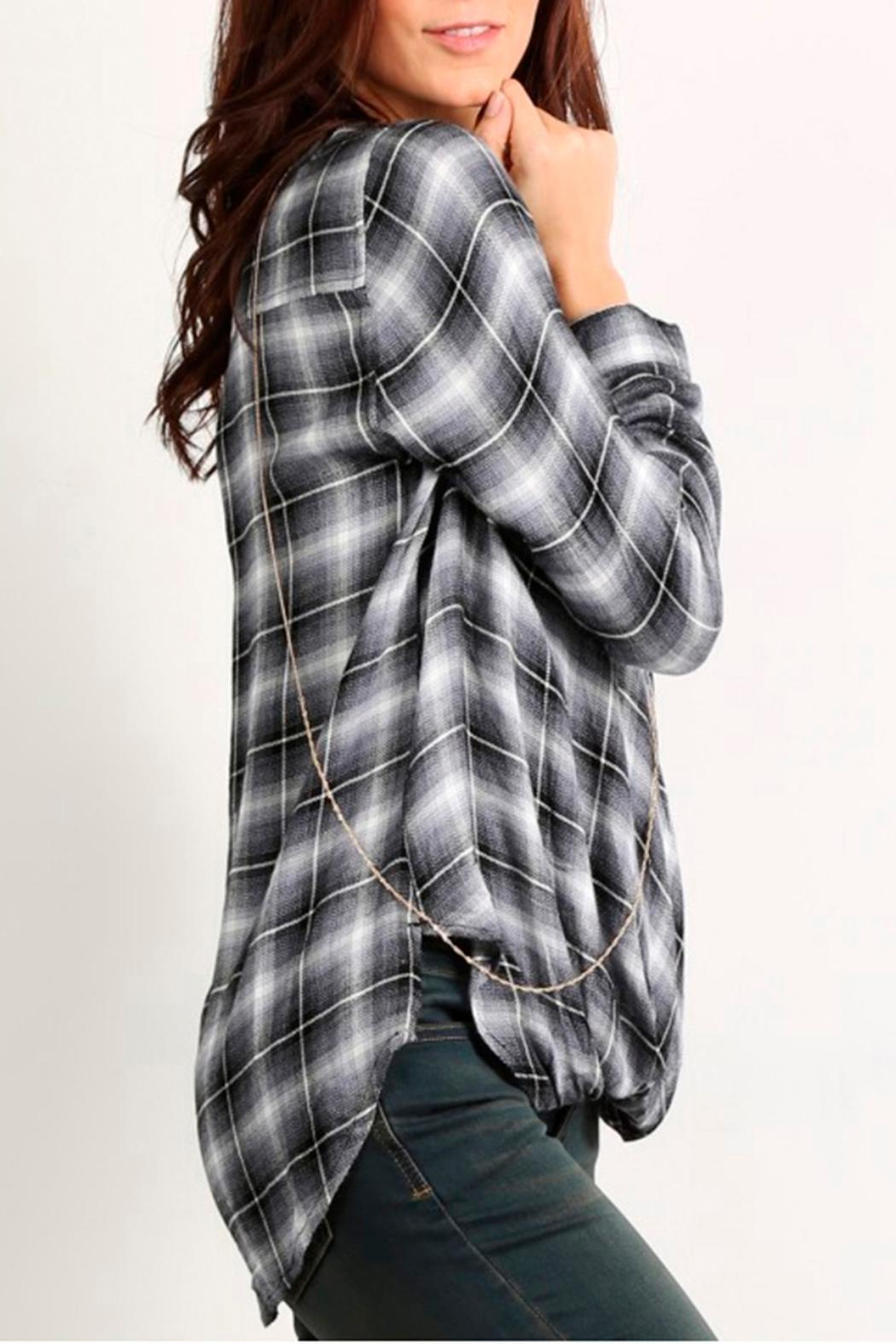 Mystree Twisted Plaid Top - Front Full Image