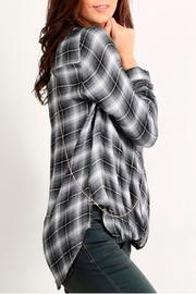 Mystree Twisted Plaid Top - Front full body