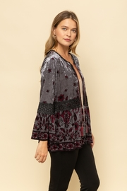 Mystree Velvet Printed Peasant Cardigan - Front full body
