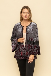 Mystree Velvet Printed Peasant Cardigan - Product Mini Image