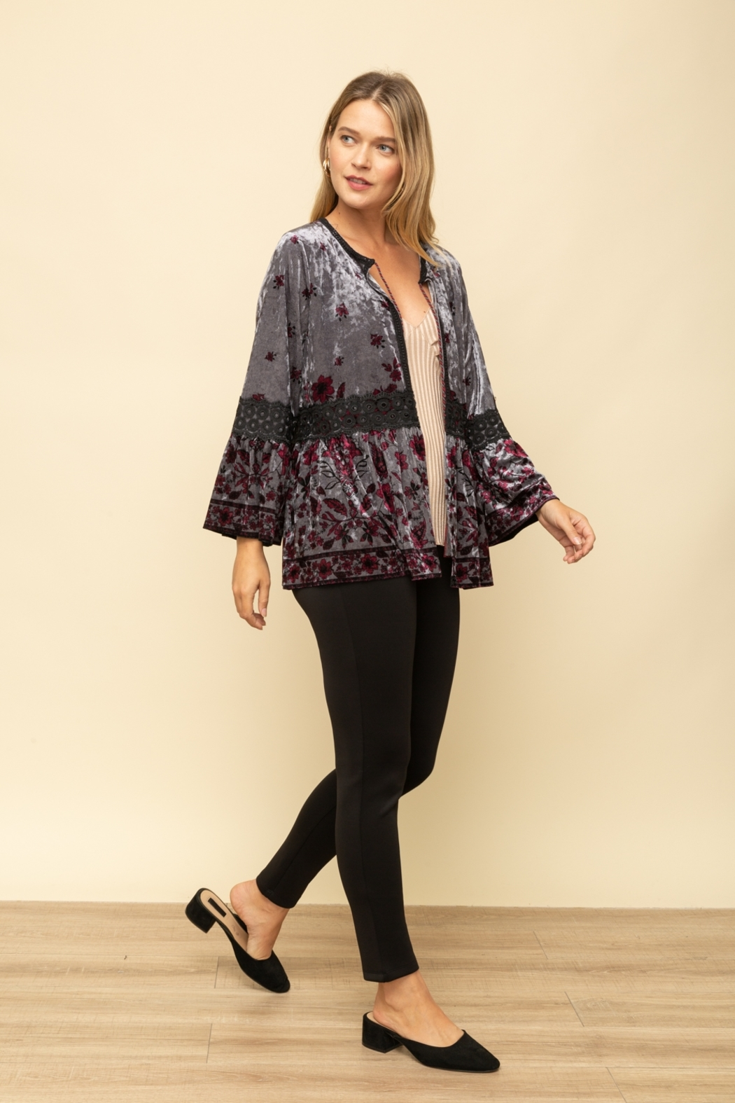 Mystree Velvet Printed Peasant Cardigan - Back Cropped Image