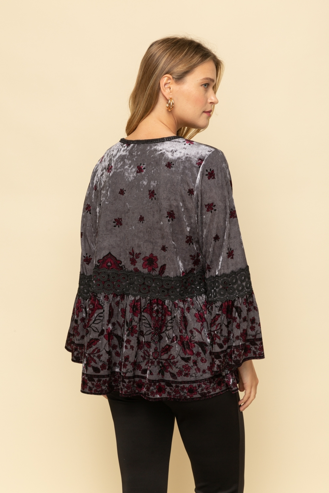 Mystree Velvet Printed Peasant Cardigan - Side Cropped Image