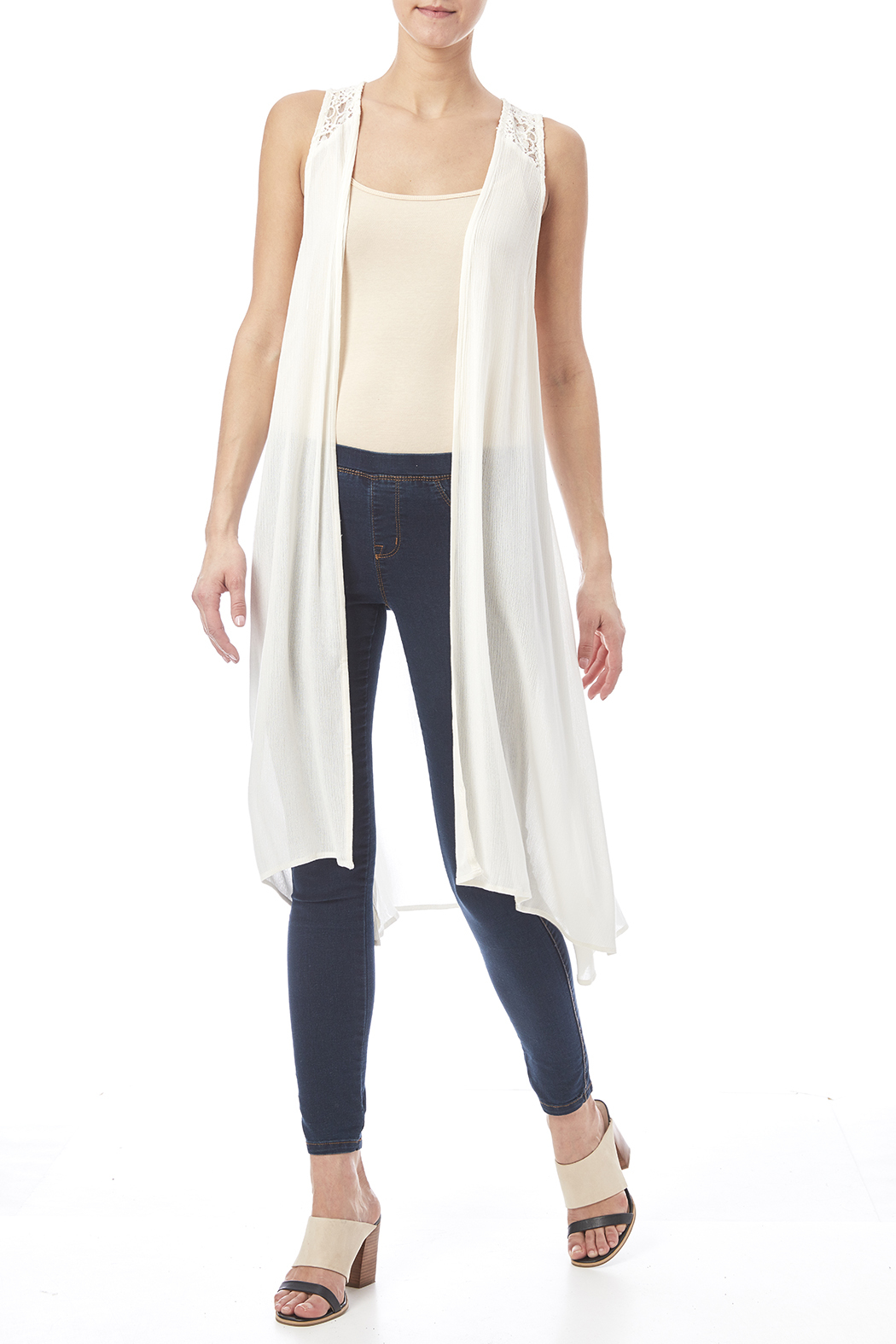 Mystree WhiteSheer Sleeveless Cardigan from Oregon by ...