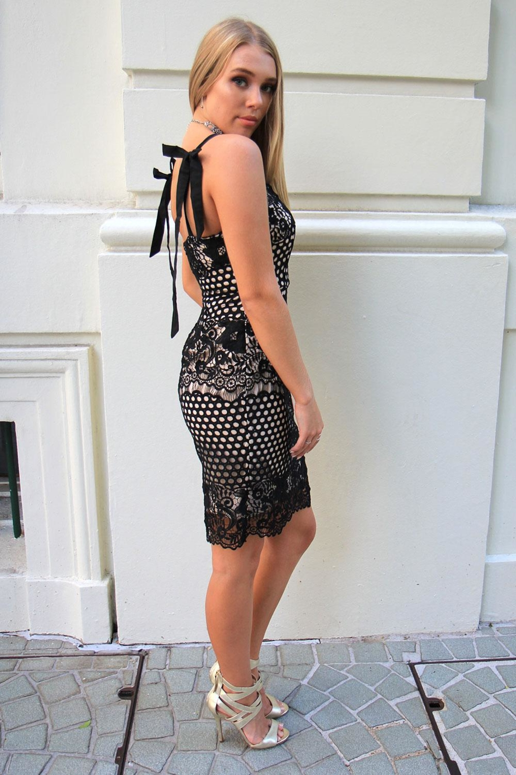 n/a Black Lace Dress - Front Full Image