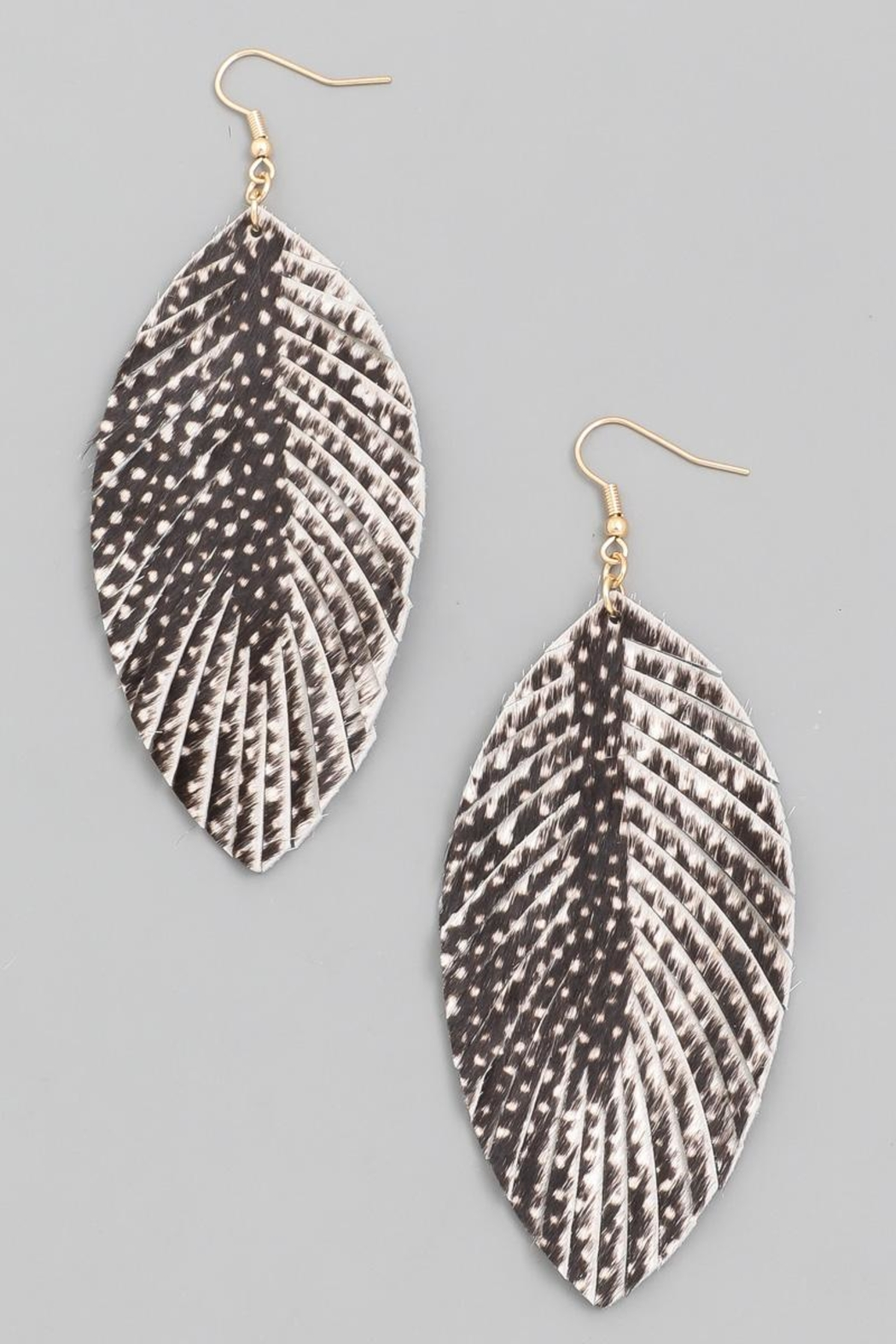 n/a Black Printed Leather Leaf Earrrings - Main Image