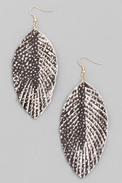n/a Black Printed Leather Leaf Earrrings - Product List Image