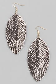 n/a Black Printed Leather Leaf Earrrings - Front cropped
