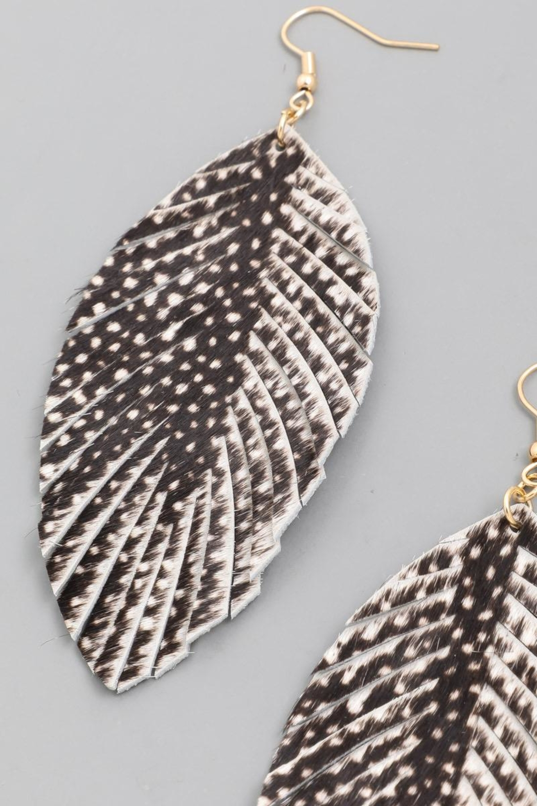n/a Black Printed Leather Leaf Earrrings - Front Full Image