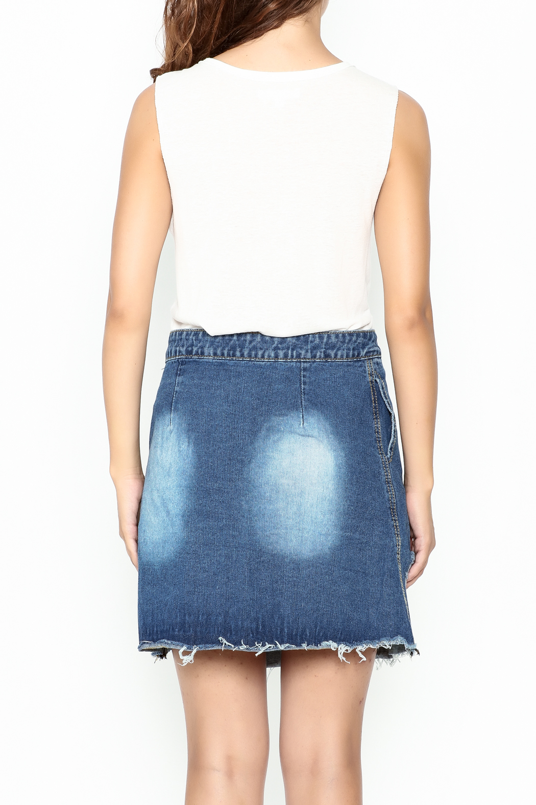 n/a Deconstructed Denim Skirt - Back Cropped Image