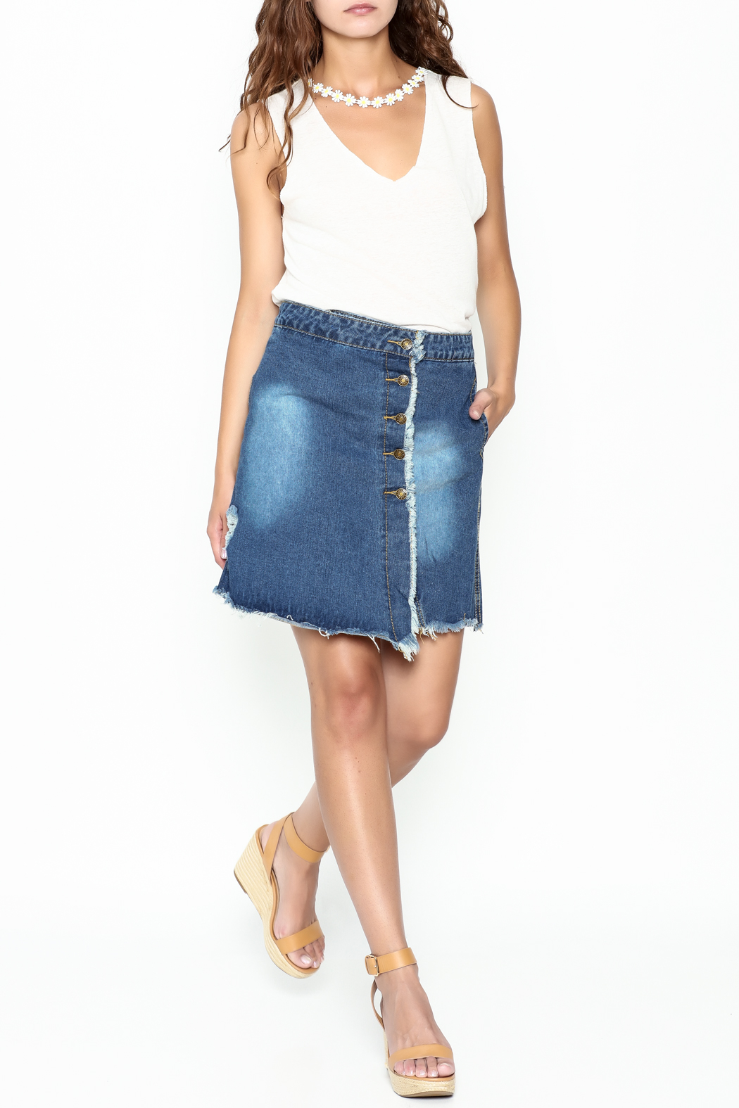 n/a Deconstructed Denim Skirt - Side Cropped Image