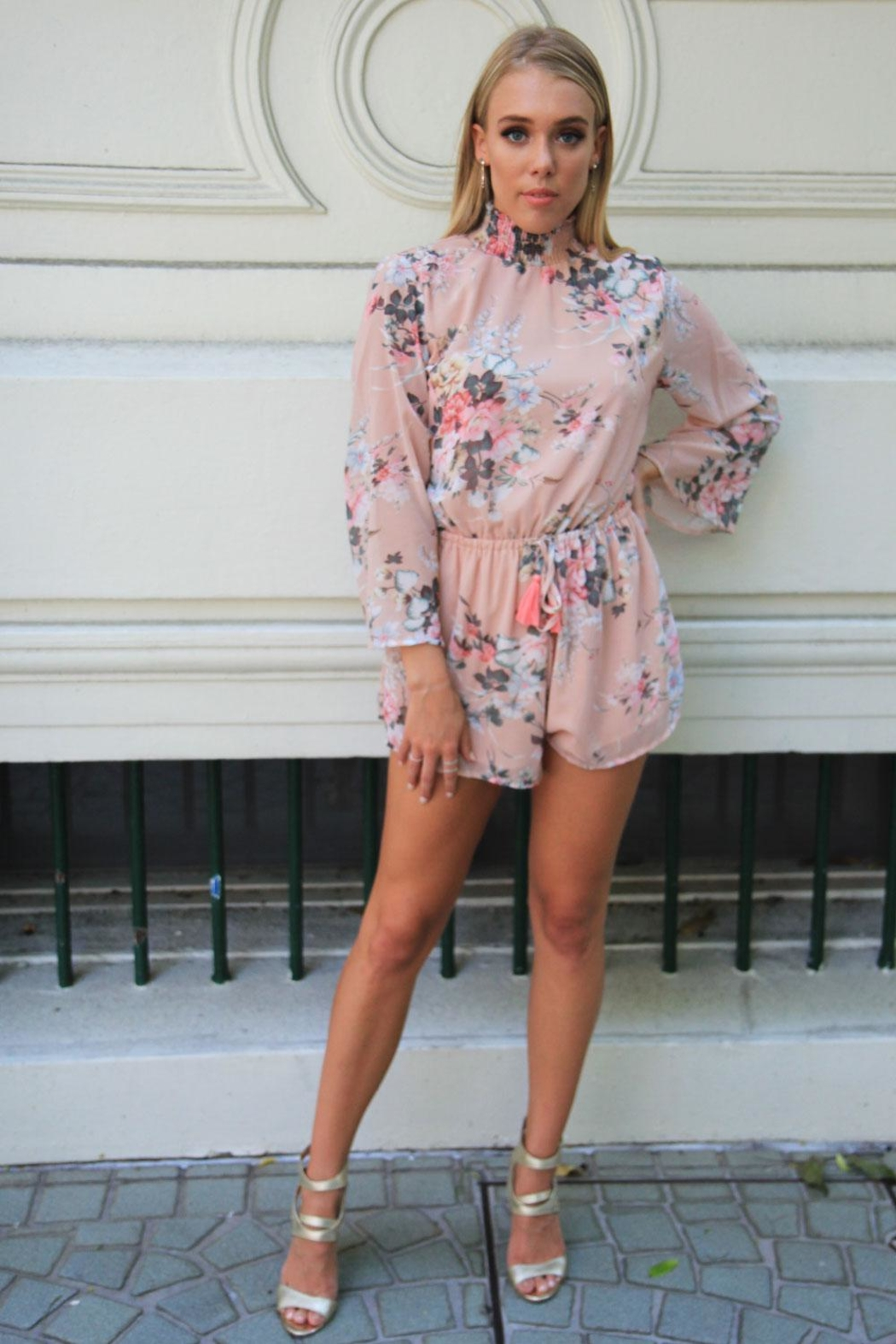 n/a Floral Open-Back Playsuit - Front Full Image