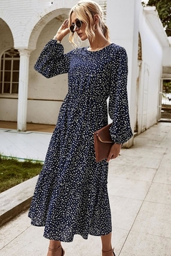 n/a Full Of Navy Dots Midi - Product List Image