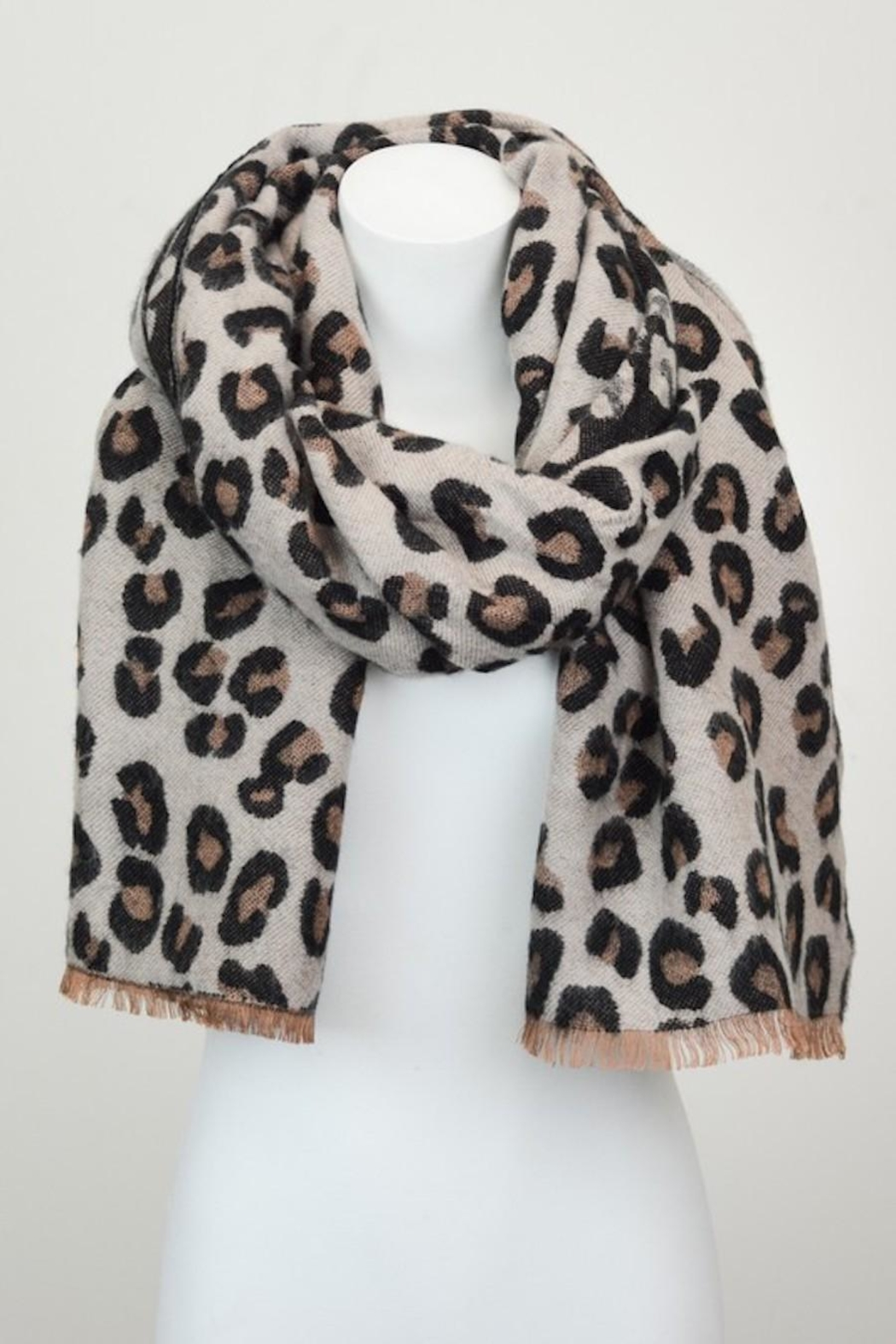 n/a Leopard Animal Print Scarf - Back Cropped Image