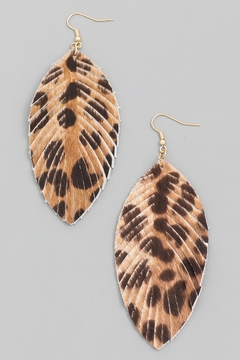 n/a Leopard Leather Leaf Earrings - Product List Image