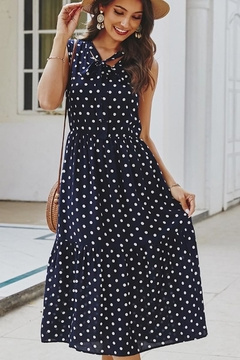 n/a Navy Polka Dot Tie Dress - Product List Image