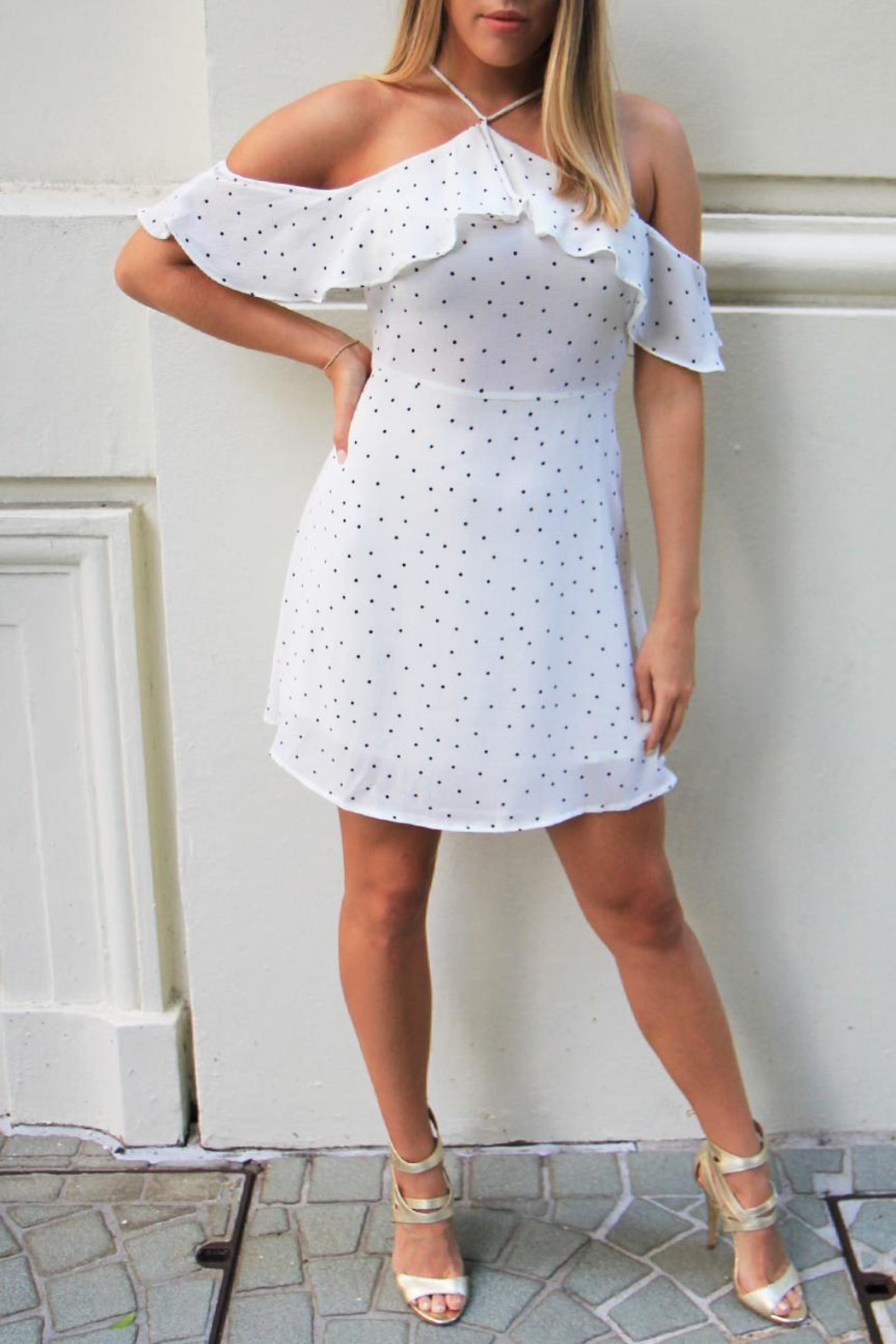 n/a Polka Dot Dress - Front Cropped Image