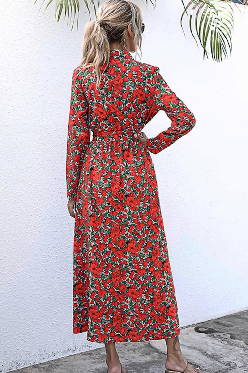 n/a Red Rosie's Long Sleeve Midi - Back Cropped Image