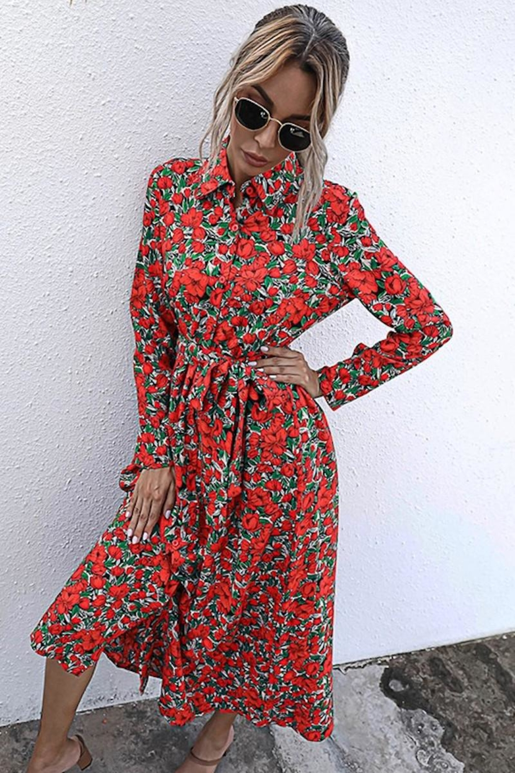 n/a Red Rosie's Long Sleeve Midi - Side Cropped Image