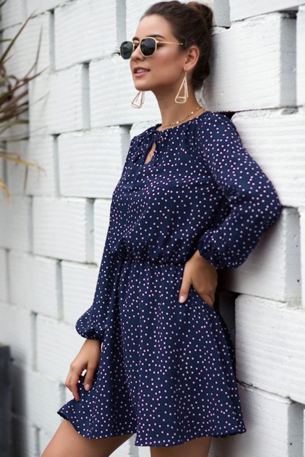 n/a Rileys Navy Dots Dress - Side Cropped Image