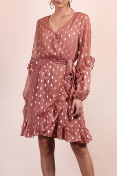 n/a Rose & Gold Polka Dot Wrap Dress - Product List Image