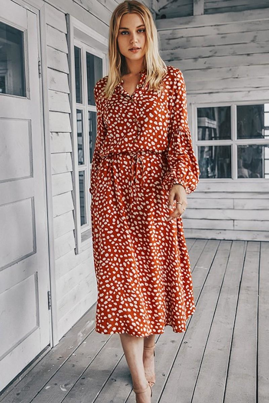 n/a Rust Spotted Midi - Front Full Image