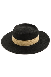 n/a Tres Chic Woven Sun Hat W Contrast Banding In Black/natural - Product Mini Image