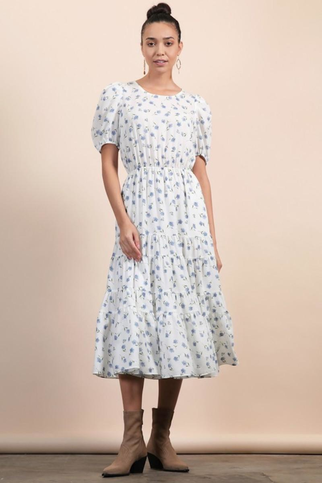 n/a White Dainty Floral Layered Pocket Midi - Front Full Image