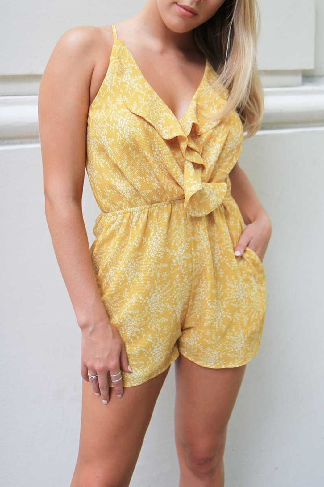 n/a Yellow Floral Playsuit - Main Image