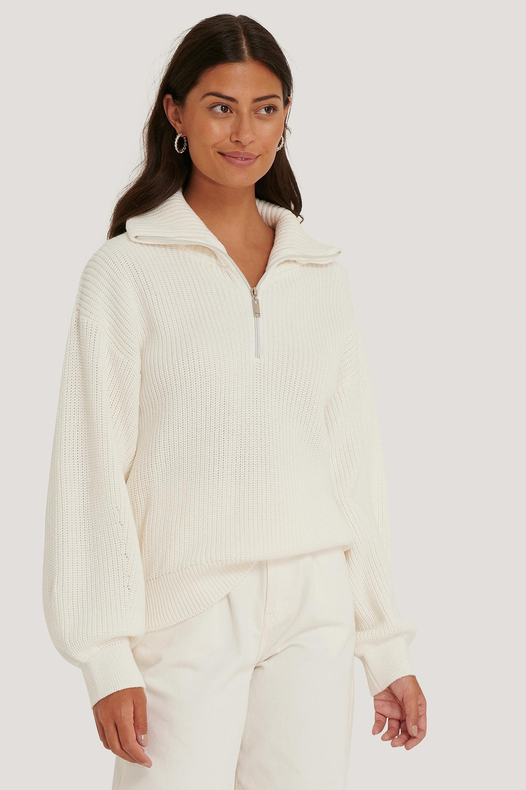 NA-KD Zip Up Sweater - Front Cropped Image