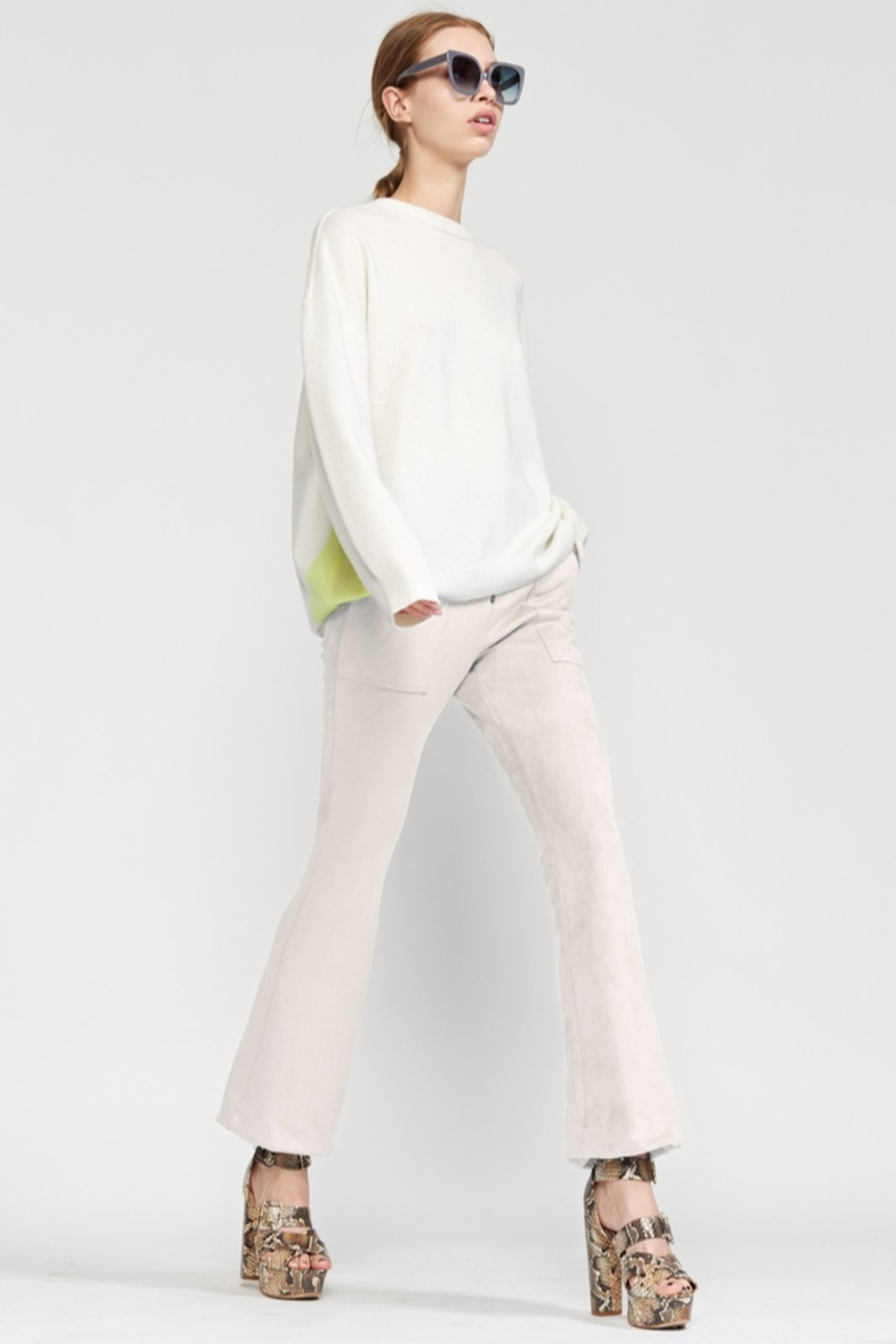 Cynthia Rowley Nadia Stretch Faux-suede Flared Pant - Front Full Image