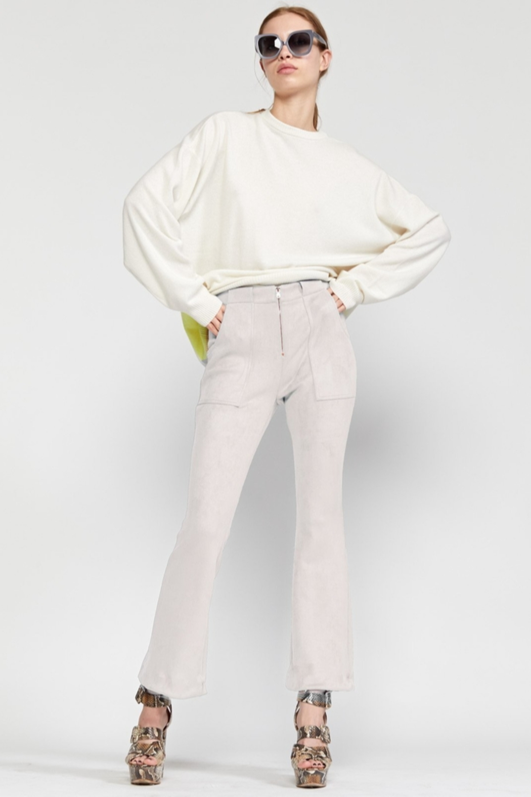 Cynthia Rowley Nadia Stretch Faux-suede Flared Pant - Main Image