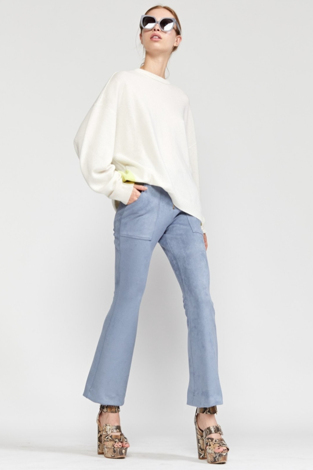 Cynthia Rowley Nadia Stretch Faux-suede Flared Pant - Side Cropped Image