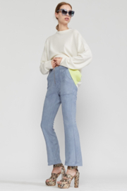 Cynthia Rowley Nadia Stretch Faux-suede Flared Pant - Front cropped