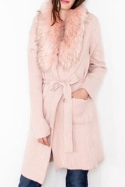 Nado Open Pink Cardie With Fur - Front cropped