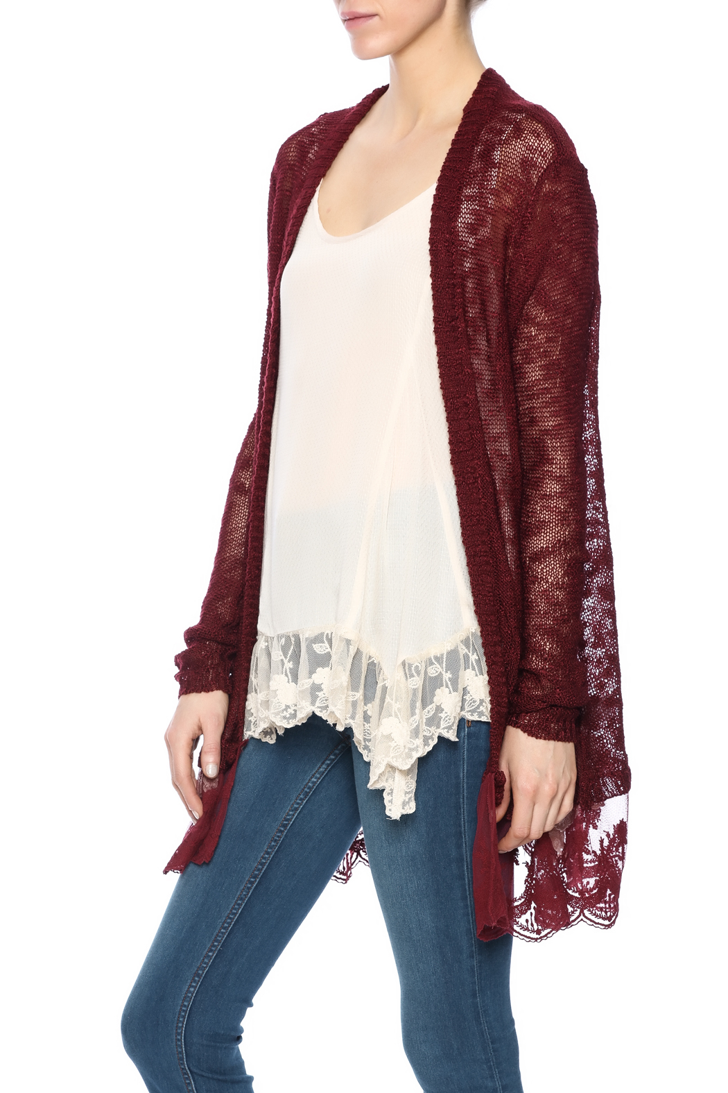 Nadya's Closet Lace Longline Cardigan from California — Shoptiques