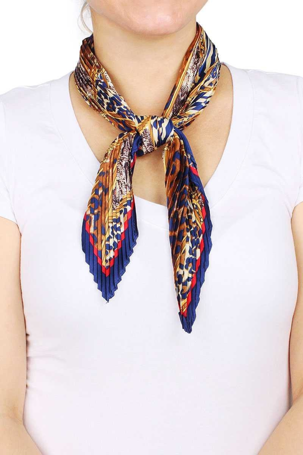 Nadya's Closet Animal Print Pleated Satin Scarf - Front Cropped Image